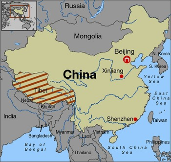 Plateau Of Tibet On Map Of Asia.Tibet Central Asia